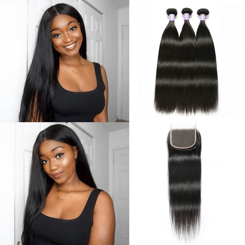 3 bundles with transparent lace closure