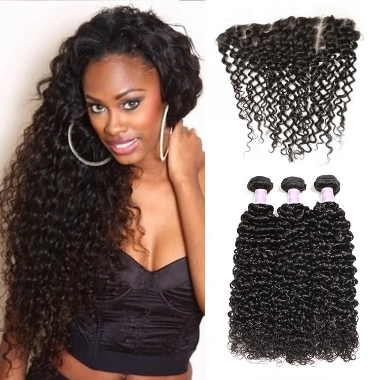 3pcs Jerry Curly Hair Weft With Lace Frontal Closure
