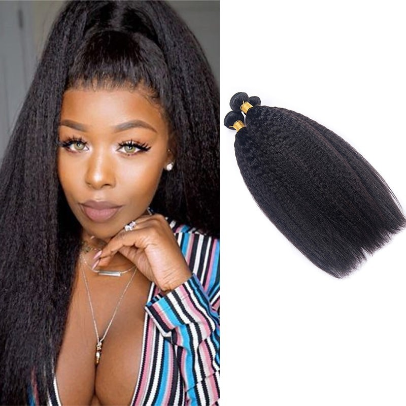 3Pcs/Pack Peruvian Virgin Yaki Kinky Straight Hair Bundles DSoar Hair