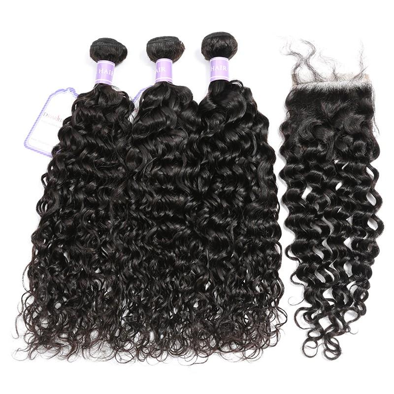 Peruvian Natural Wave Weave DSoar Hair 3 Bundles Deals With Lace Closure