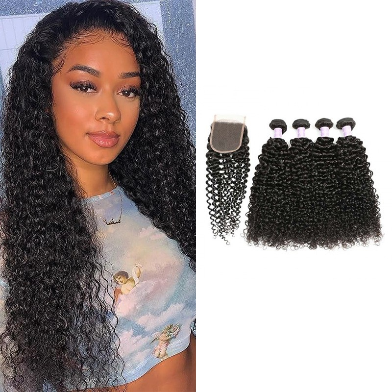 DSoar Hair 4Pcs Malaysian Jerry Curly Hair Weft With Closure