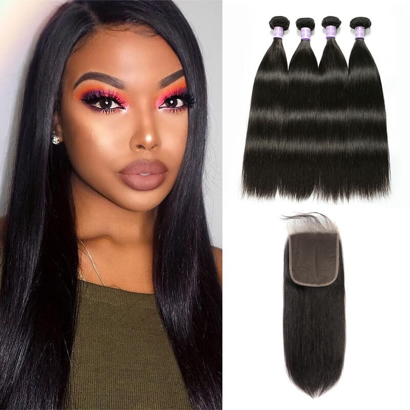 4 Bundles With Lace  Closure