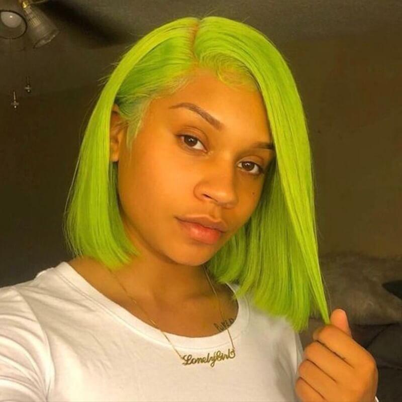 DSoar Hair Full Lace Straight Human Hair Green Wigs Medium Length Free Part