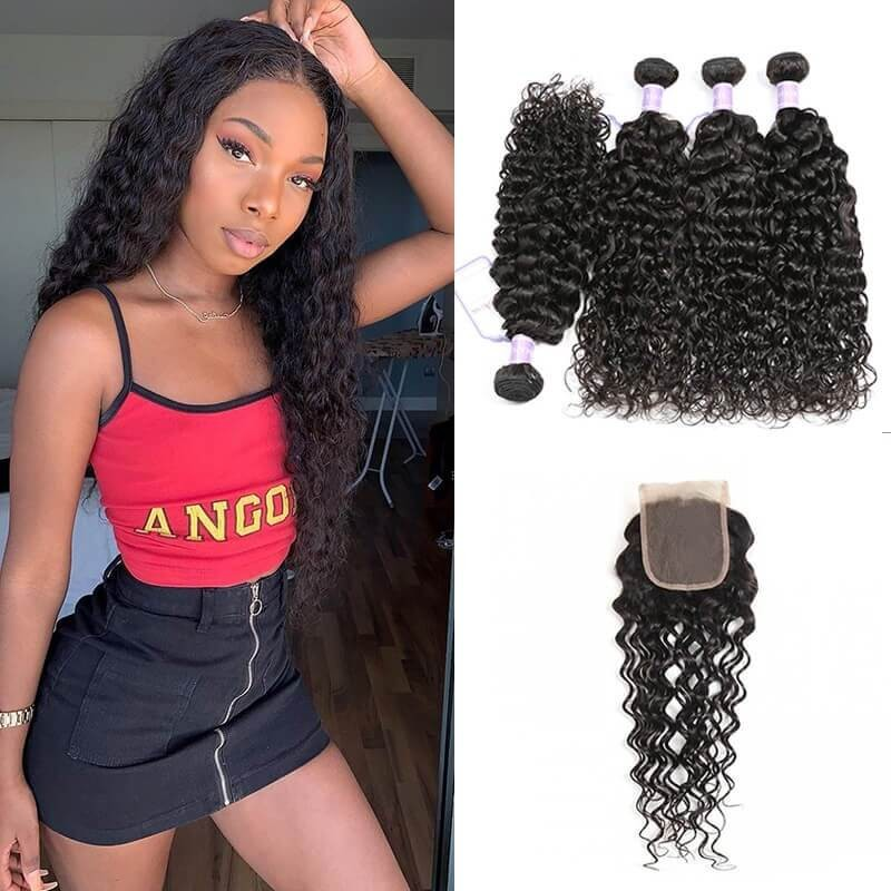DSoar Hair Natural Wave Weave 4 Bundles With Lace Closure Virgin Human Hair