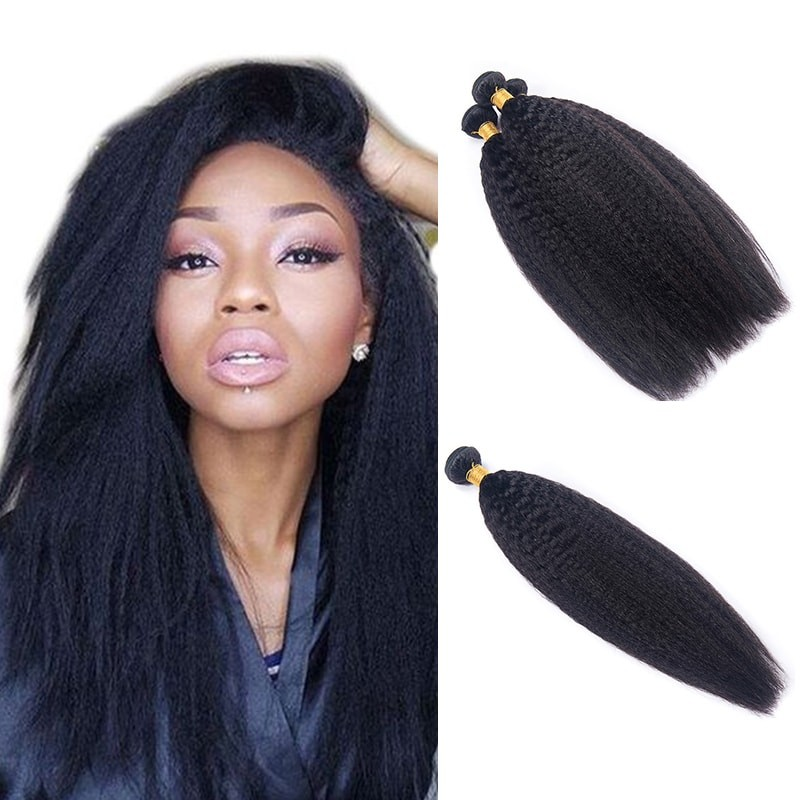 4Pcs/Pack Peruvian Kinky Straight Hair Bundles DSoar Virgin Hair