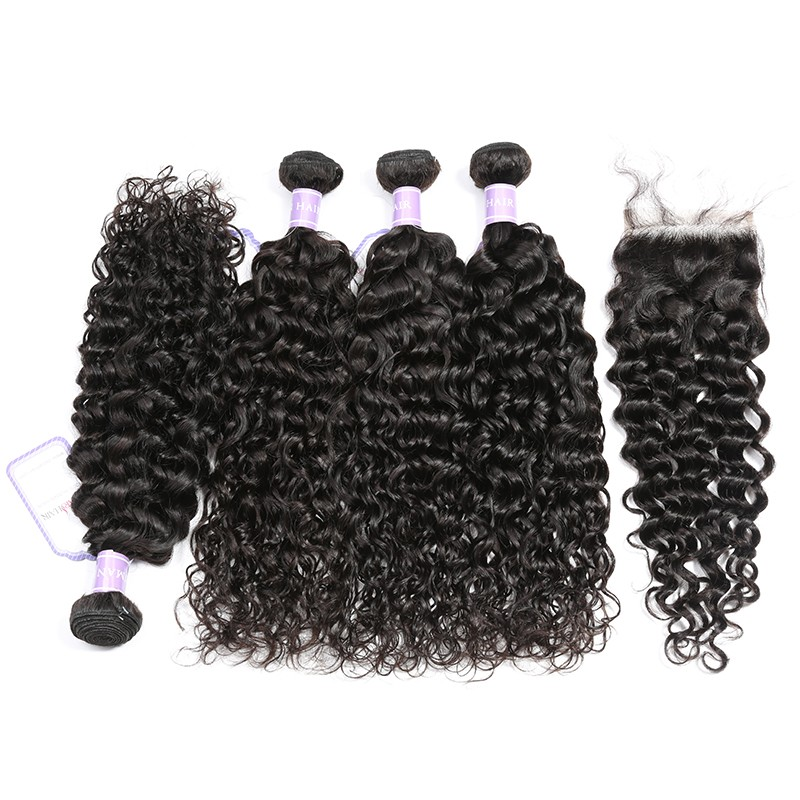 Brazilian Natural Wave Hair Lace Closure 4x4 With 4 Bundles