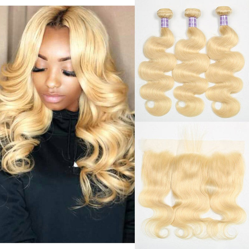 DSoar Hair 613 Lace Frontal With 3 Bundles Brazilian Body Wave Hair