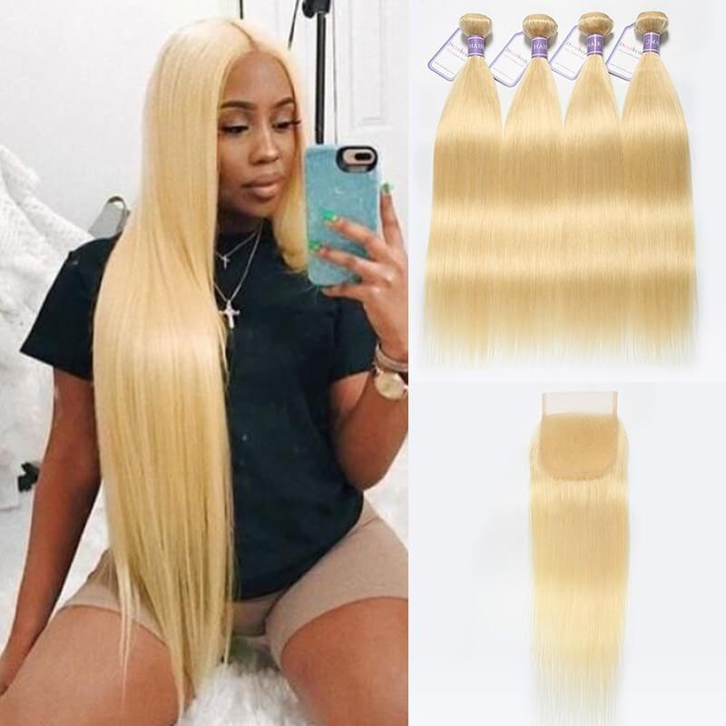 4 Bundles 613 Blonde Weave With Closure Peruvian Straight Hair
