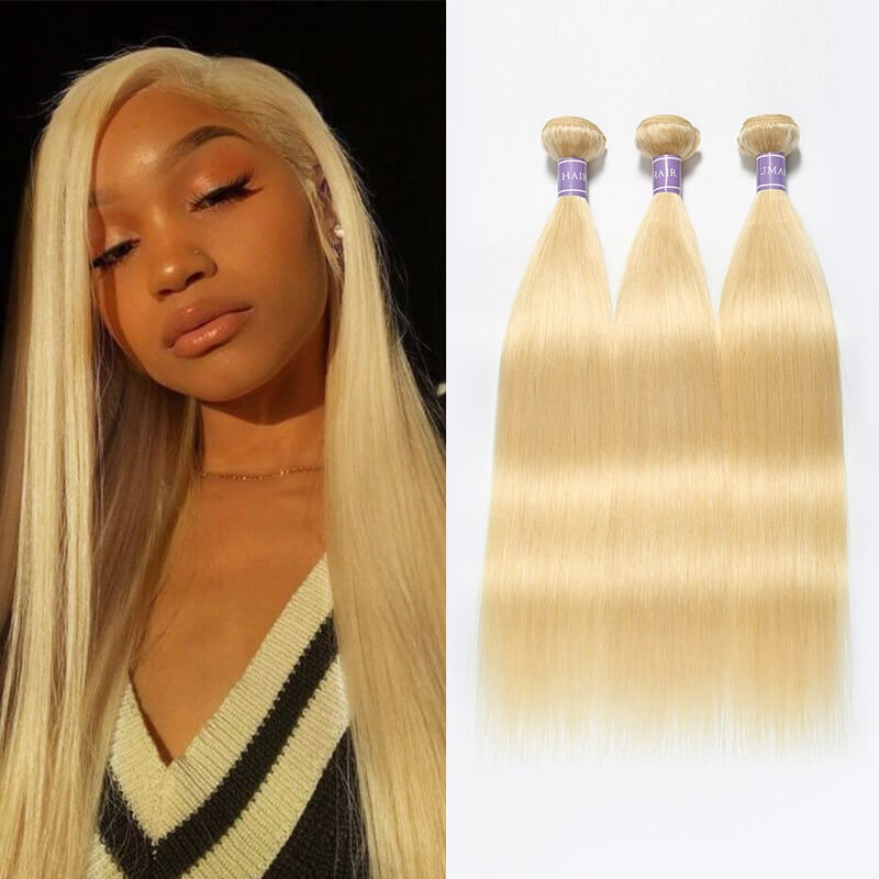 Real Indian Hair 3 Bundles 613 Blonde Hair Straight Weaves