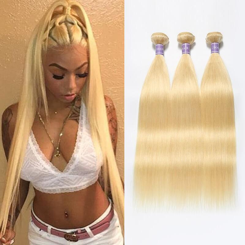 613 Blonde Sew In Weave 3 Bundles Peruvian Straight Hair