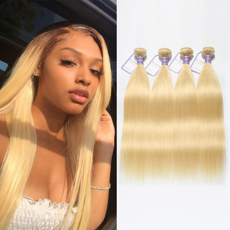 DSoar Hair 613 Weave Blonde Hair 4 Bundles Straight Peruvian Hair