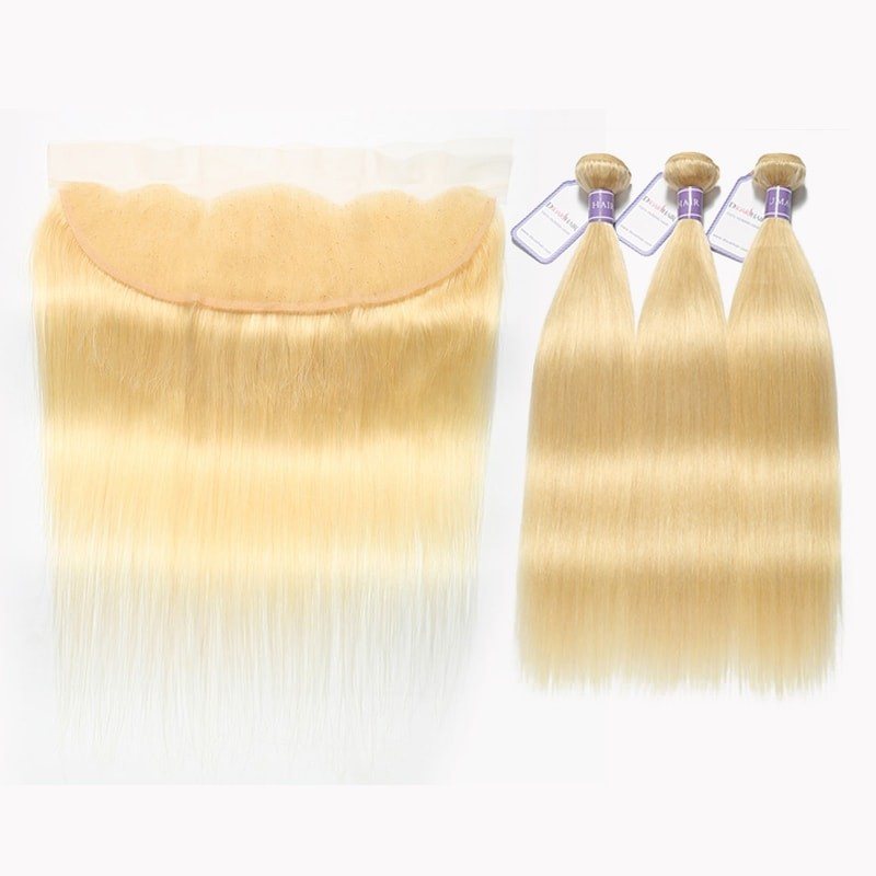 DSoar Hair 613 Straight Hair Blonde Lace Frontal With 3 Bundles Malaysian Remy Hair