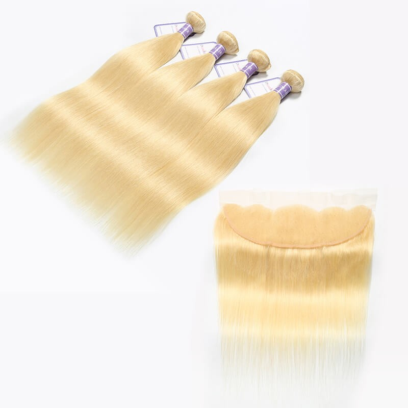 613 Blonde Hair Lace Frontal And 4 Bundles Malaysian Straight Hair