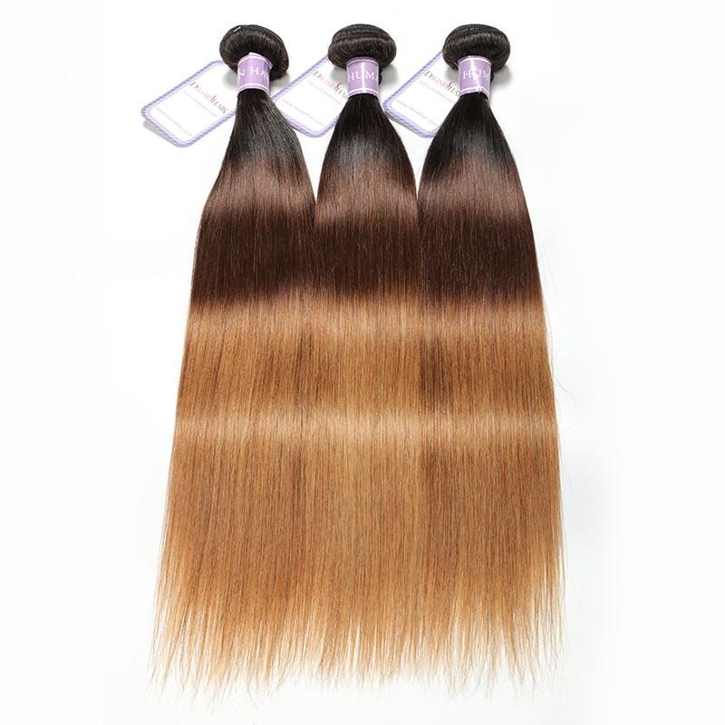 DSoar Hair 3Pcs/Lot Three Tone Ombre Straight Virgin Hair T1B/4/27