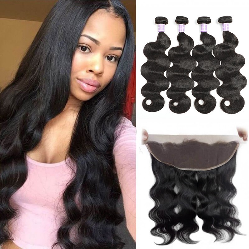 DSoar hair Peruvian body wave lace frontal closure 13x4 with 4 bundles free part