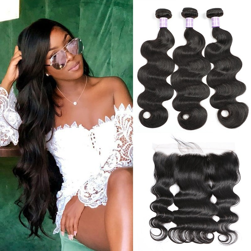 Peruvian body wave lace frontal closure 13x4 with 3 bundles DSoar Hair body wave natural black