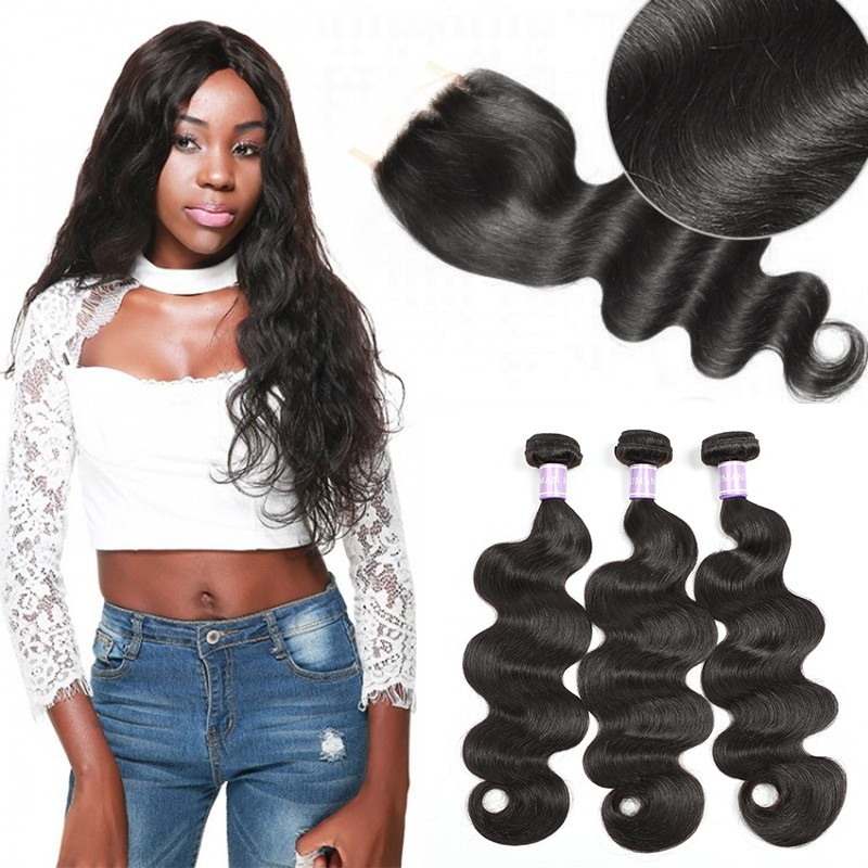 Unprocessed DSoar Hair Peruvian Body Wave Hair 3 Bundles With Lace Closure