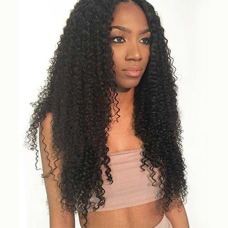DSoar Hair Black Long Curly 13*6 Transparent Lace Front Wig