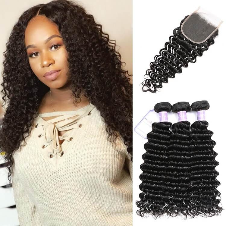 Dsoar Hair Brazilian Deep Wave Hair 3 Bundles With Lace Closure 4x4 Inch