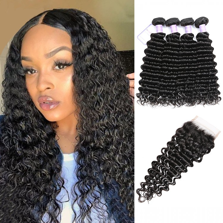 Brazilian Deep Wave Hair 4 Bundles Deals With Lace