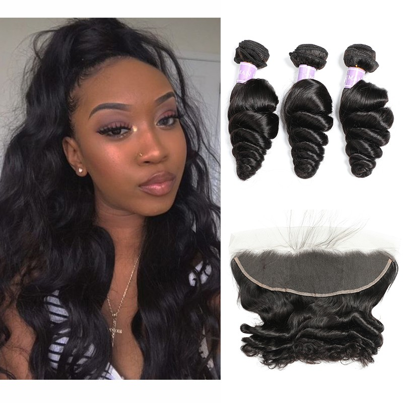 Brazilian Loose Wave 3 Bundles With Lace Frontal
