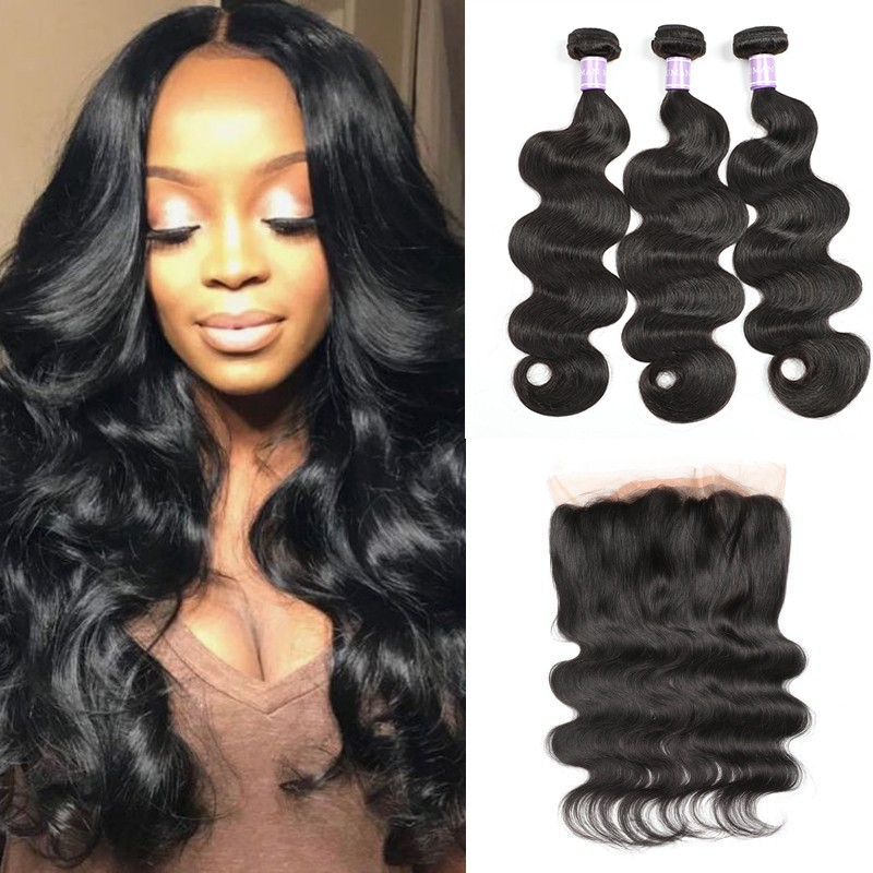 DSoar Indian body wave hair 360 lace frontal with 3 bundles sew in
