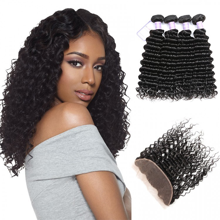 Indian Deep Wave Dsoar Human Hair Weave Lace Frontal 13x4 And 4 Bundles Deals