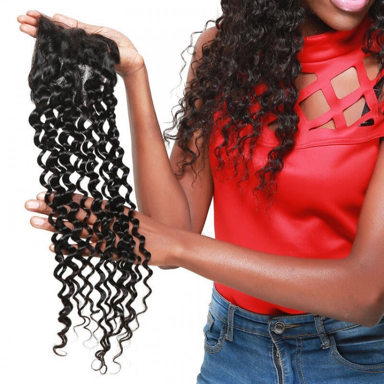 "DSoar Hair Deep Wave Lace Closure 4"" x 4"" Human Hair 1 Piece"