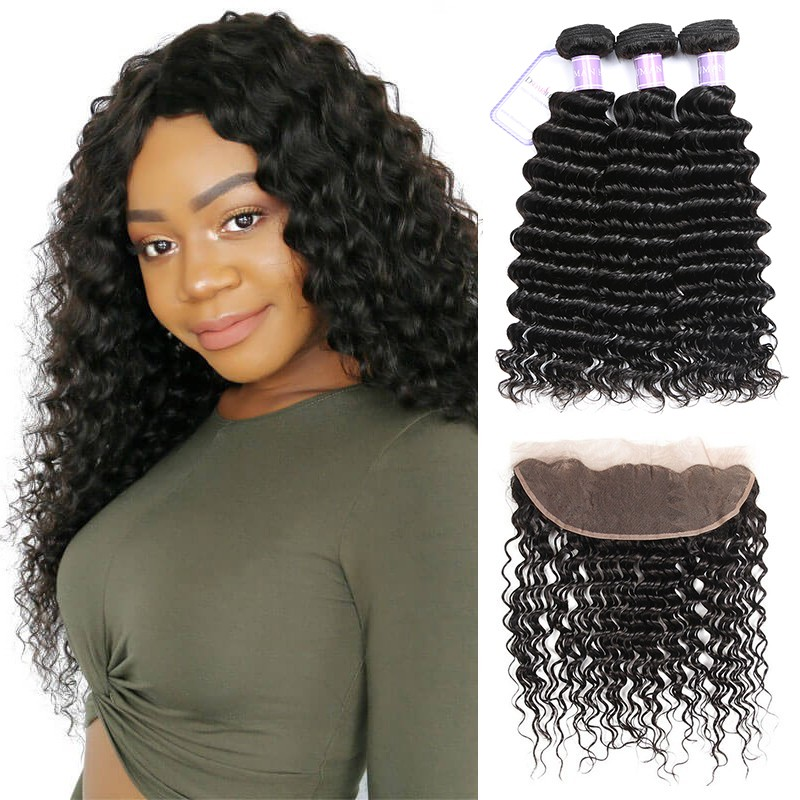 deep wave virgin hair 3 bundles