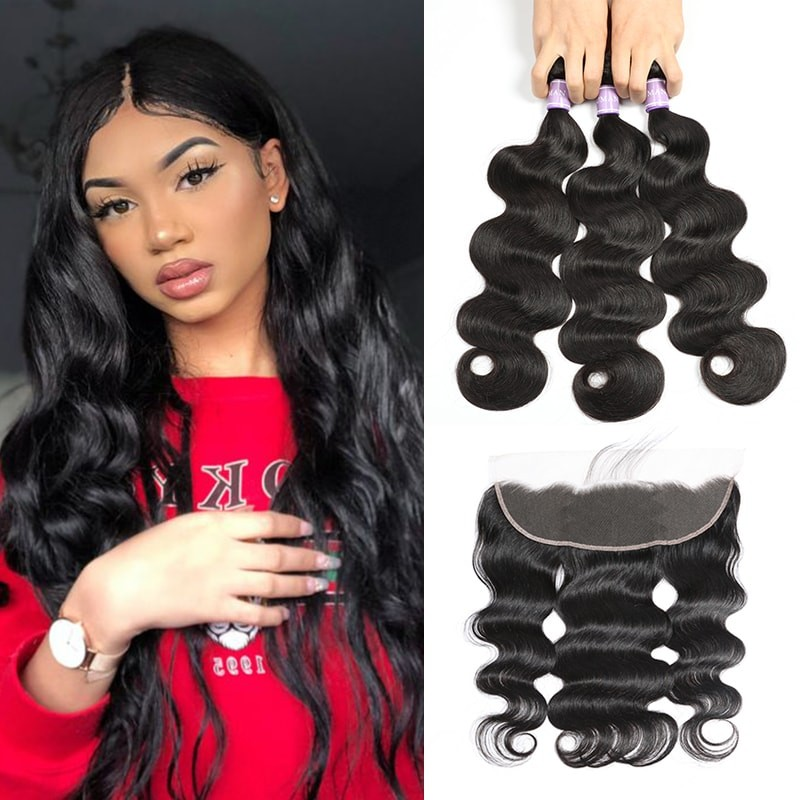 DSoar Hair 3 Bundles Body Wave Hair With Lace Frontal Hair Closure