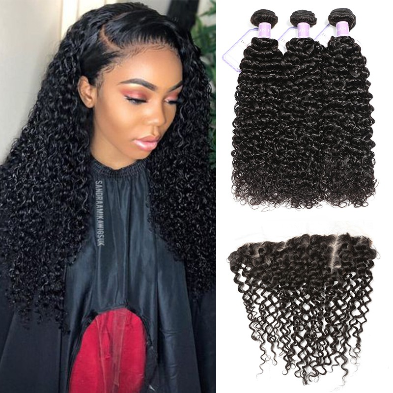 "Natural Black 3 Bundles 8""-26"" Malaysian Curly"