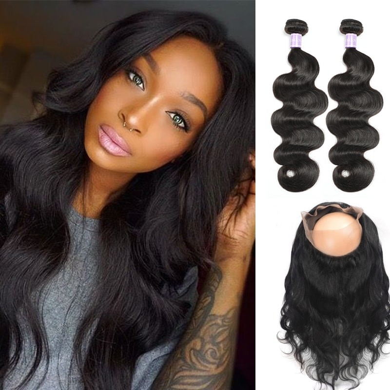 DSoar Hair Brazilian 2 Bundles Body Wave Virgin Human Hair With 360 Lace Frontal