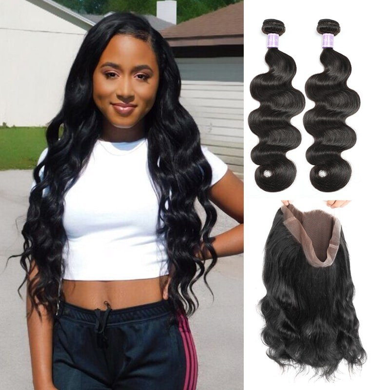 DSoar Hair Indian Body Wave 360 Lace Frontal Closure With 2 Bundles Deals