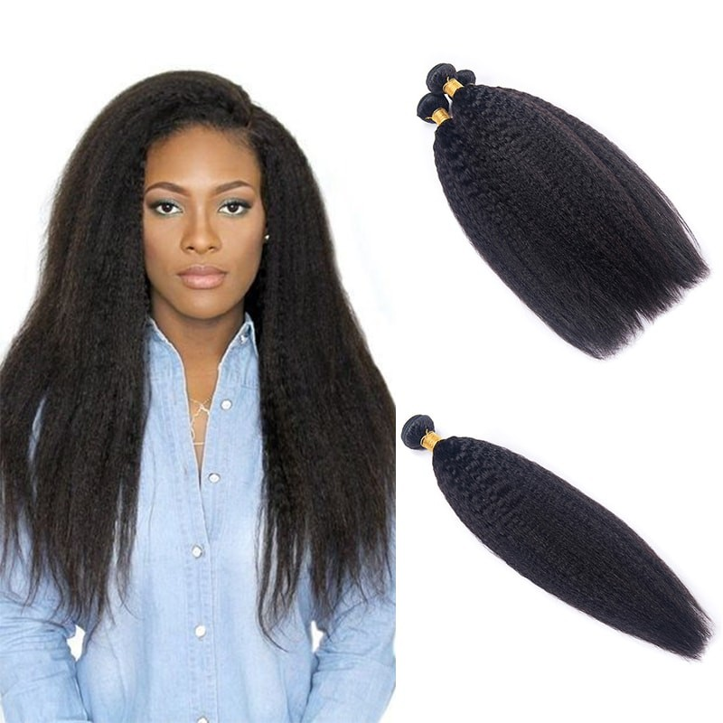 DSoar Hair Kinky Straight Bundles Yaki Hair 4Pcs/Lot Human Hair Weave