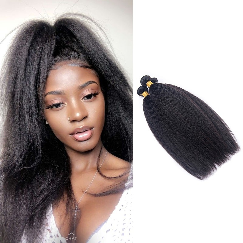 DSoar Hair Yaki Kinky Straight Hair 3 Bundles Human Hair Weave