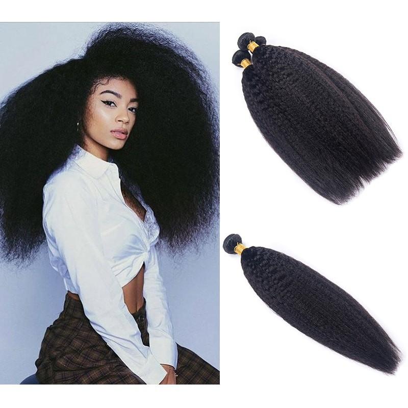 DSoar Hair Malaysian Kinky Straight Hair 4 Bundle Deals Human Hair Weave