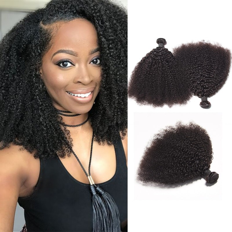 DSoar Hair Peruvian Afro Kinky Curly Hair Extensions 3 Bundle Deals