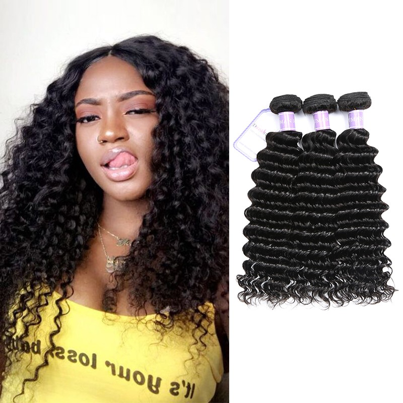 DSoar Indian Deep Wave Hair 3 Bundles Remy Hair Weave