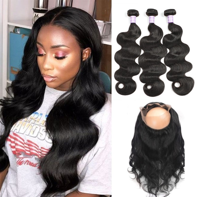 DSoar Peruvian Body Wave Hair 360 Lace Frontal And 3 Bundles Deal