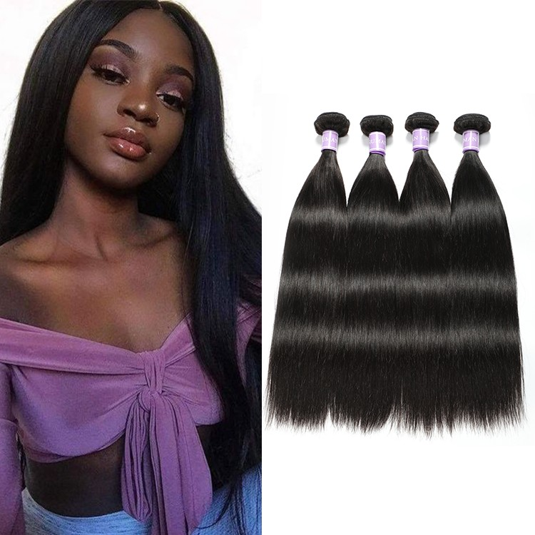 DSoar Peruvian straight hair 4 bundles unprocessed virgin hair weave 1b color