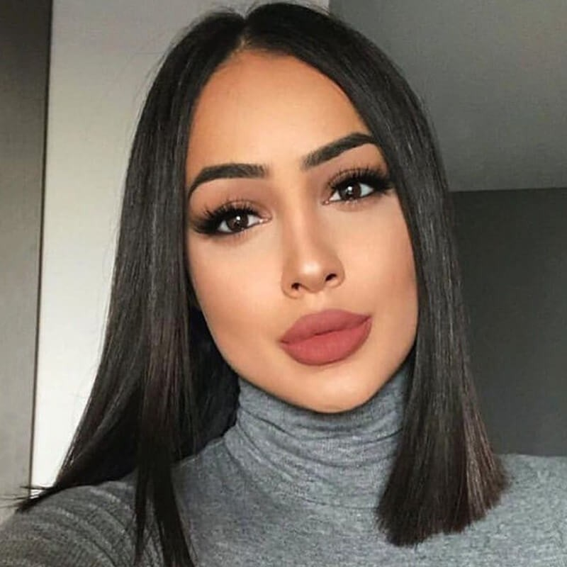 DSoar Human Hair Straight Blunt Cut Lace Front Bob Wigs For Women