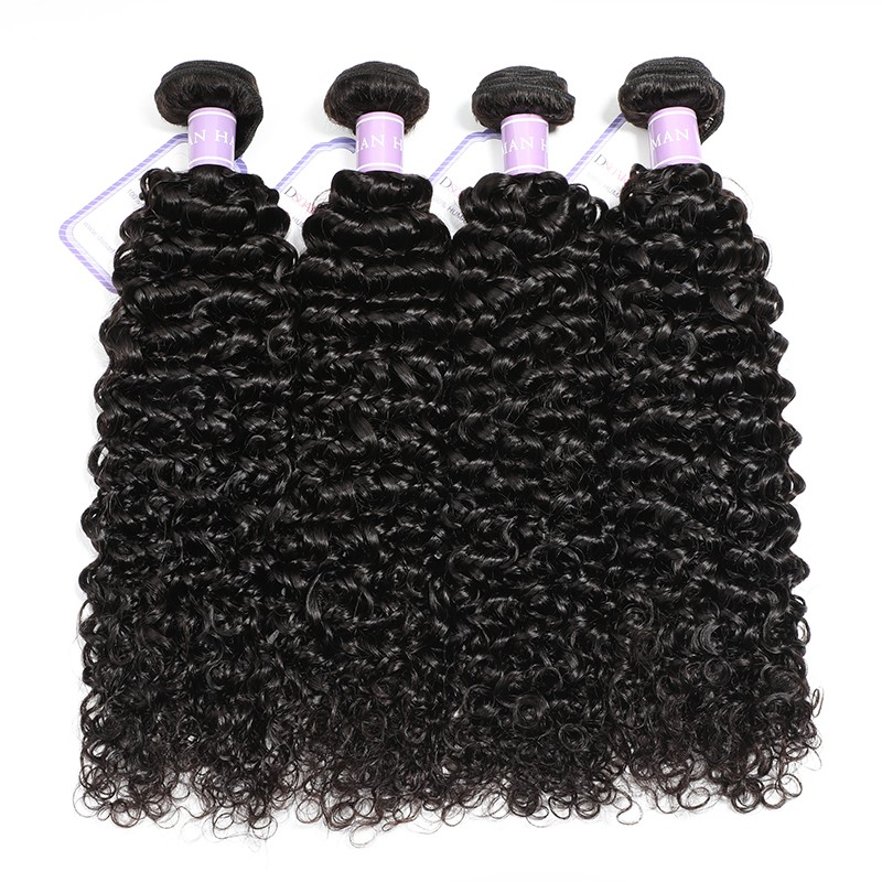 DSoar Indian Curly Hair Weave 4 Bundles Remy Human Hair Weave