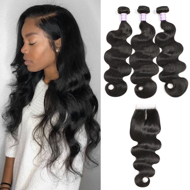 DSoar Hair Indian Body wave 3 bundles with lace closure 4x4 inch natural color