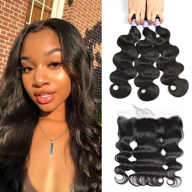 DSoar hair raw Indian body wave hair 3 bundles deals with lace frontal 13x4 inch
