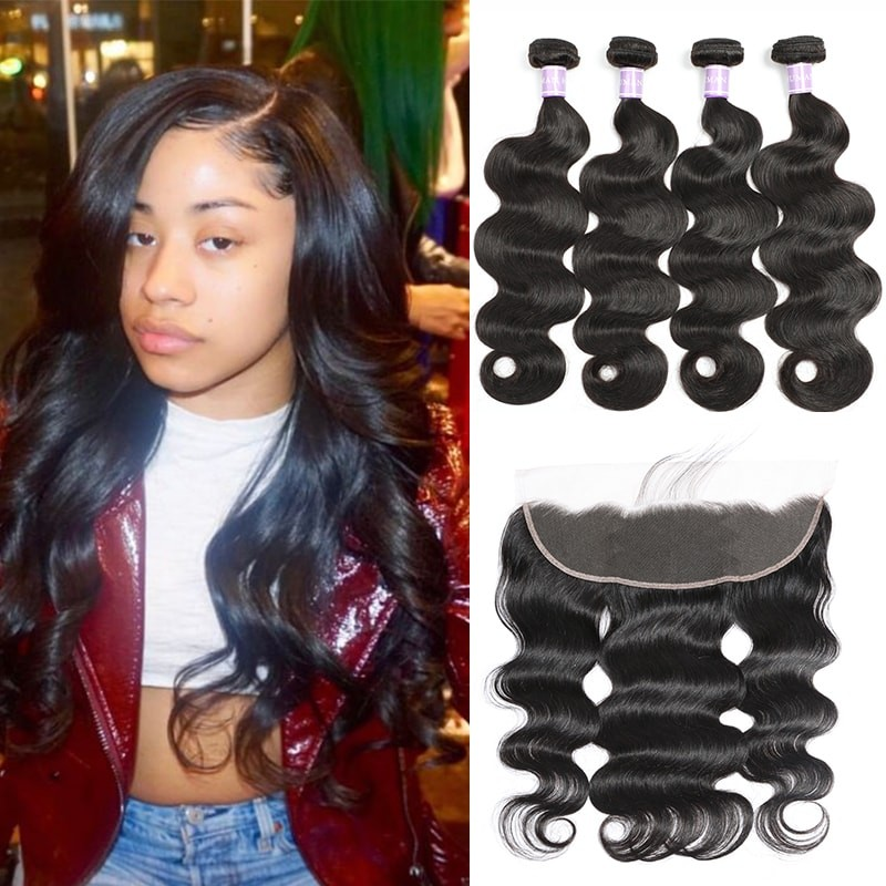 DSoar hair Indian body wave hair 4 bundles deals with lace frontal closure 13x4 inch