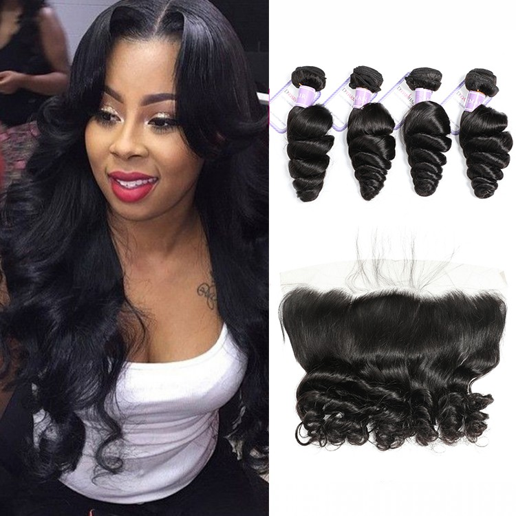 loose wave 4bundles with frontal closure