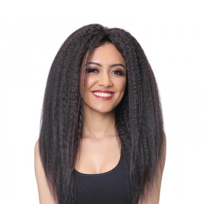 DSoar Hair Best Natural Black Middle Part Kinky Straight Hair Lace Front Wig