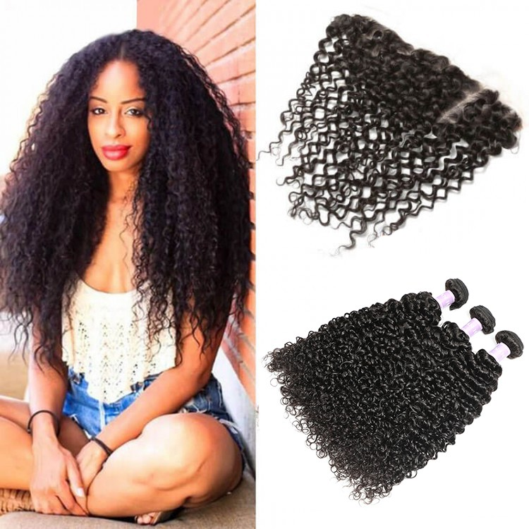 DSoar Hair Brazilian Pretty Curly Virgin Hair 3 Bundles Weave With 4x13 Frontal Closure