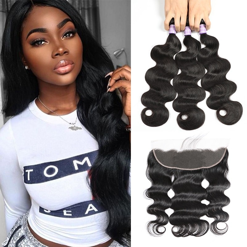 DSoar Hair Body Wave 3 Bundles Hair Weave Malaysian Human Hair With 413 Lace Frontal