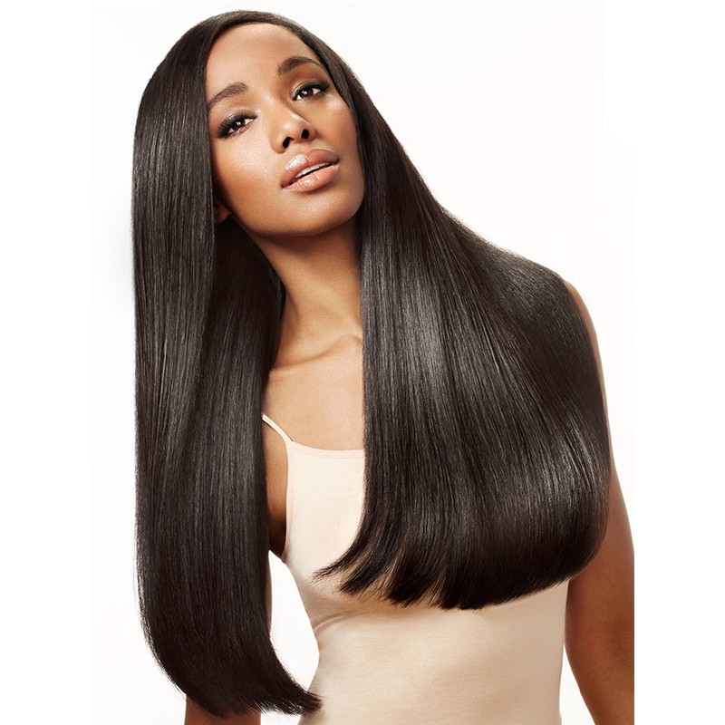 DSoar Hair Long Black Straight Free Part Transparent Lace Front Wig Human Hair